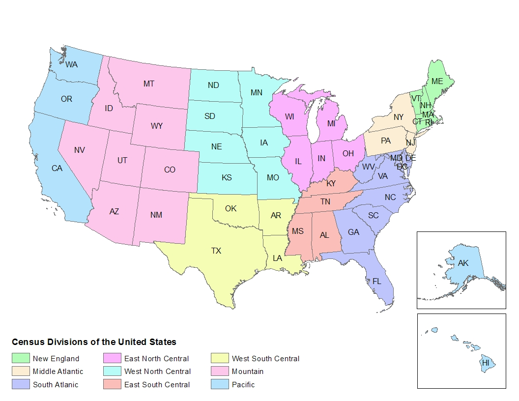 US Census Regions SASGraph GMAP Geography Atlas Regions Geography - Us map region division