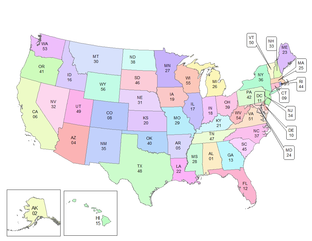 Us Maps With States - Us map with state codes